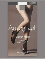 Autograph 3 Pair Pack 15 Denier Ladder Resist Shine Ankle Highs with Silver Technology