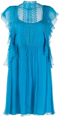 Alberta Ferretti Ruffle Sleeved Mini Dress
