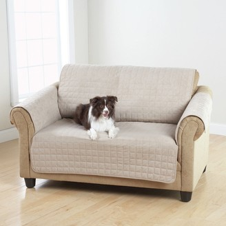 Sure Fit Faux Suede Quilted Pet Throw Loveseat Protector