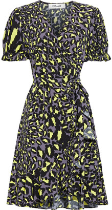 Diane von Furstenberg Emilia Ruffled Printed Crepe Mini Wrap Dress