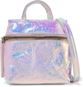 Kara Satchel Micro Holographic Crinkled-leather Shoulder Bag - Silver