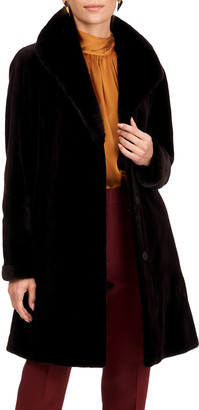 Gorski Sheared Mink Fur Reversible Silk Stroller
