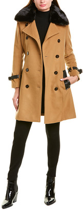 The Kooples Contemporary Wool-Blend Trench Coat