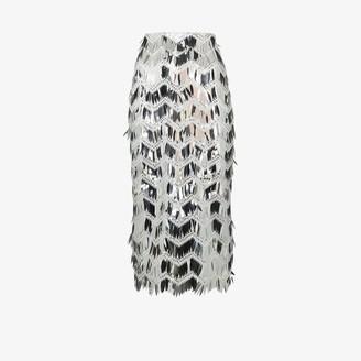 Anouki Metallic fringed sequin pencil skirt