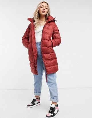 G Star G-Star long slim hooded padded coat in red