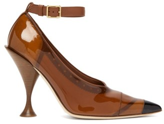 Burberry Evan Pvc-coated Leather Pumps - Womens - Brown