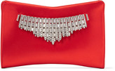 Jimmy Choo VENUS Red Satin Clutch Bag with Tiara Crystals