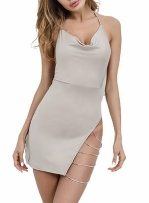 FOBEXISS Womens Sexy Open Back High Waisted Mini Dresses Halter Neck Tie Mini Dress Slim Fit Chain Split Dresses Khaki