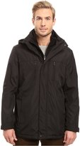 Kenneth Cole Reaction Men's Bonded Poly Hooded Zipfront Jacket with Fleece Bib