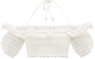 Zimmermann Allia Loop Lace Off-the-shoulder Linen Cropped Top - Womens - White