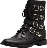 Saint Laurent Studded Strapped Motorcycle Boot, Black