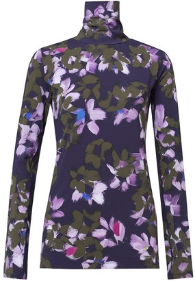Dorothee Schumacher Floral Movement Turtleneck in Green Flowers on Blue