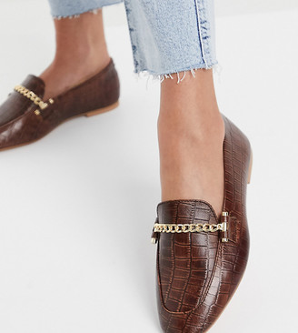 ASOS DESIGN Wide Fit Minute leather chain loafers in black