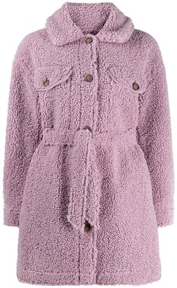 Urban Code Belted Faux-Shearling Coat