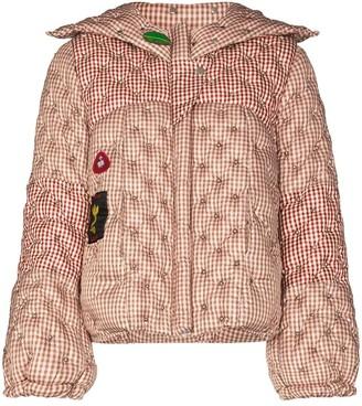 Chopova Lowena Gingham Stud-Detailing Puffer Jacket