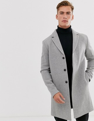 Selected recycled wool overcoat-Gray