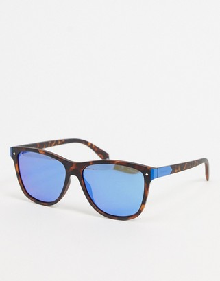 Polaroid Polariod sunglasses in tortoise shell with blue lens