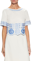 Temperley London Cotton Floral Embroidered Top