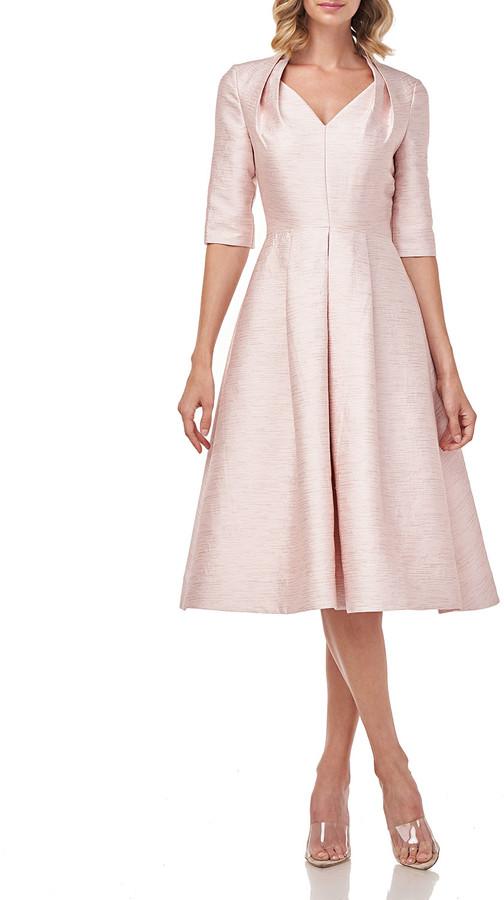 Kay Unger New York Lolita Elbow-Sleeve Shantung Jacquard Midi Dress