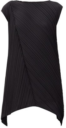 Pleats Please Issey Miyake Diagonal-crease Technical-pleated Mini Dress - Black