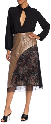 Tov Faux Leather & Snake Pleated Mixed Media Midi Skirt