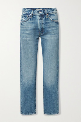 Mother Hiker Hover Distressed High-rise Straight-leg Jeans - Mid denim
