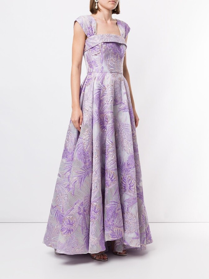 Thumbnail for your product : Bambah Square Neck Floral Pattern Gown
