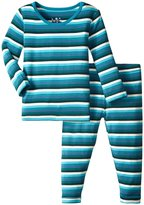 Kickee Pants Print Pajama Set (Baby) - Boy Forest Stripe - 0-3 Months