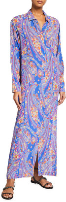 Etro Karabair Paisley-Print Long Shirt Dress