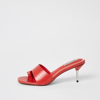 River Island Womens Orange toe loop heeled mule sandals