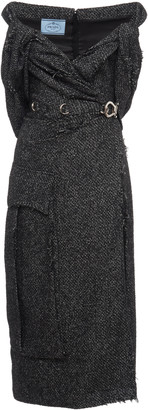 Prada Off-The-Shoulder Wool-Blend Tweed Midi Dress