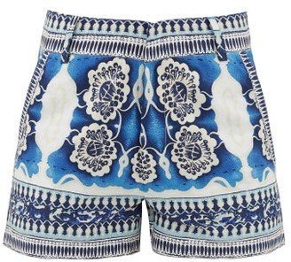 Le Sirenuse, Positano - Positano Mosaic-print Cotton Shorts - Blue Print