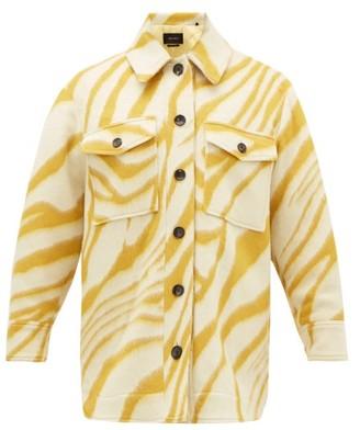 Isabel Marant Harvey Tiger-print Brushed-wool Overshirt - Womens - Yellow Multi
