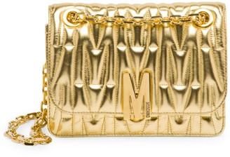 Moschino Embossed Metallic Leather Shoulder Bag