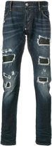 Philipp Plein distressed straight-leg jeans - men - Cotton/Spandex/Elastane - 32
