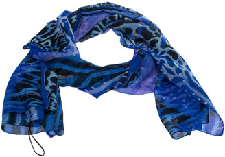 Roberto Cavalli Blue Animal Printed Silk Scarf