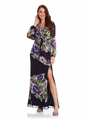 Adrianna Papell Women's Floral Printed Chiffon Gown