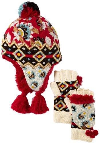 Muk Luks Women's Faux Fur Lined Helmet Hat and Flip Glove Set