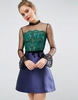 Asos Pie Crust Neck Lace Mini Dress