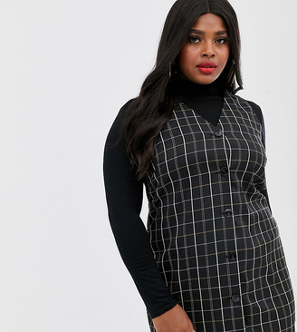 Vero Moda Curve sleeveless pinafore dress in black check