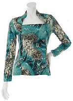 George Simonton As Is Animal Print Milky Knit Top with Sparkle Detail