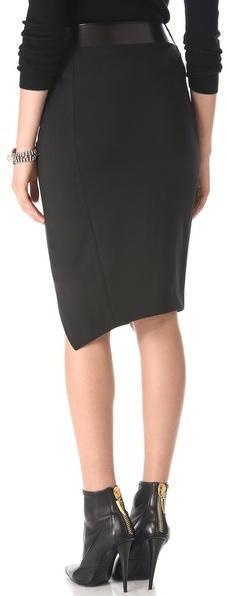 Donna Karan Sarong Pencil Skirt with Leather Band