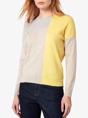 Jaeger Wool Cashmere Colour Block Jumper, Multi