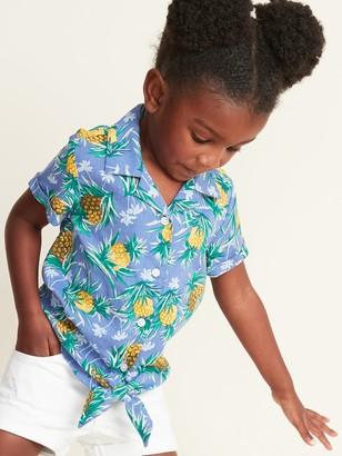Old Navy Printed Tie-Hem Getaway Shirt for Toddler Girls