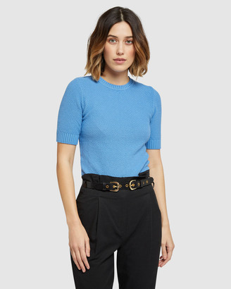 Oxford Women's Workwear Tops - Lupa Textured Short Sleeve Knit - Size One Size, 6 at The Iconic