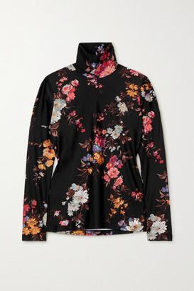 Twin Fantasy Floral-print Stretch Turtleneck Top - Black