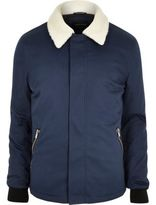 River Island Mens Blue borg collar jacket
