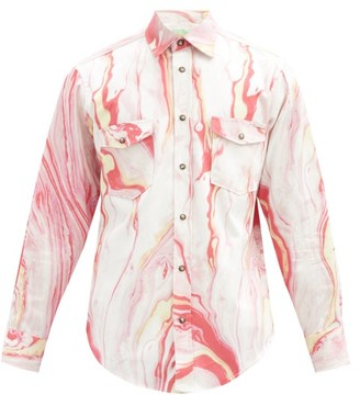 Aries Marble-print Cotton-twill Western Shirt - Pink