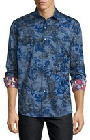 Robert Graham Limited Edition Printed Sport Shirt W/Embroidery, Blue