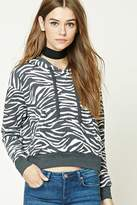 Forever 21 Zebra Print Fleece Hoodie